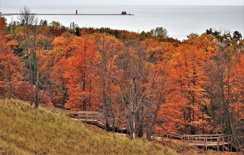 """Boardwalk and stairs at North Ottawa Dunes"""" by Mike Lozon. Photo courtesy of Ottawa County Parks & Recreation."""