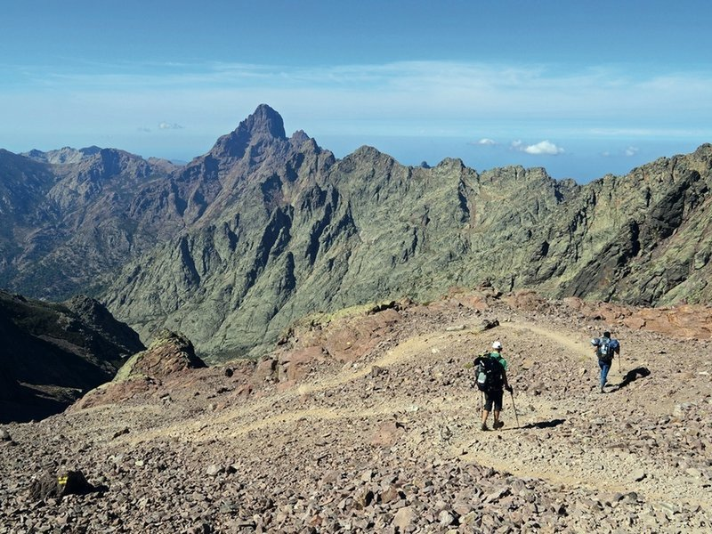Hikers near Monte Cinto