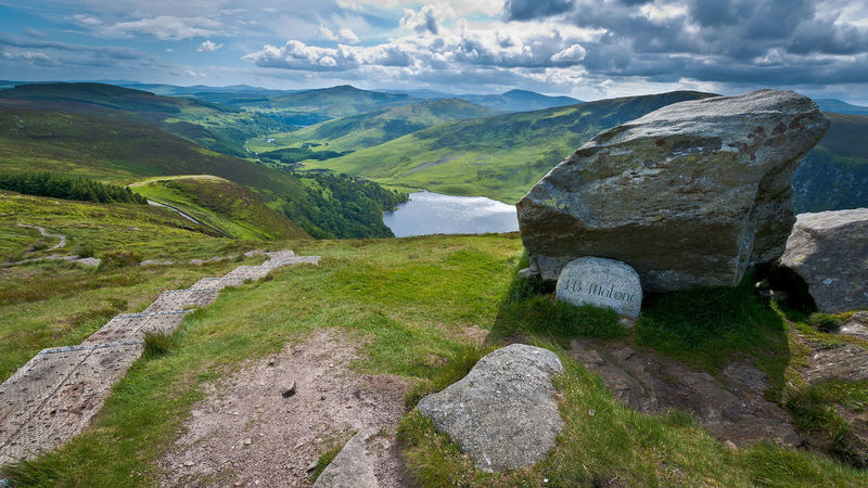The J.B. Malone memorial overlooking Lough Tay in the Wicklow Mountains National Park