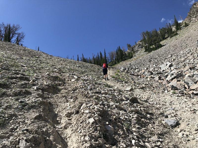 Hiking up Talus slope to Big Lost lake