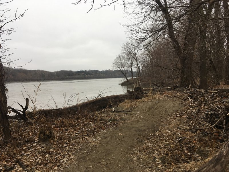 The trail runs right along the river, and mostly consists of sand.