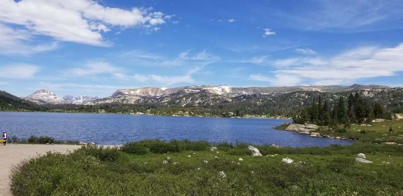 July 2019. Island lake looking North to Beartooth Plateau.