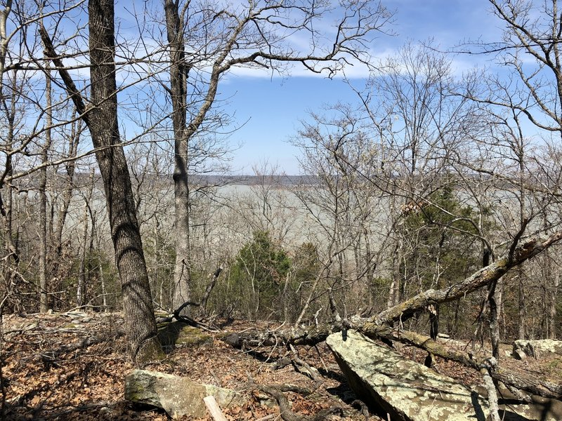 With the leaves off, you can see the lake from most of the trail