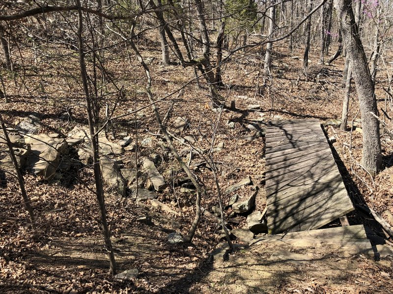 The is a split in the trail that will take you further along the lake, but the trail is lost past this bridge.  I hiked it for another 1/4 mile or more and there is no defined trail and you're basically walking in the woods.