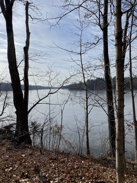 View of a frozen Lake Nockamixon from Quarry Trail
