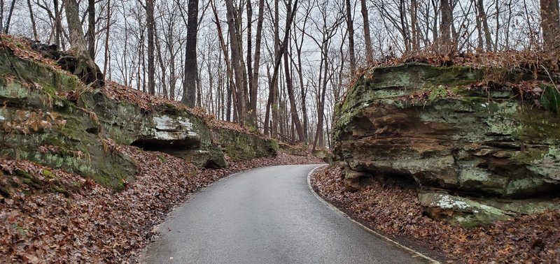 Road passing through rock
