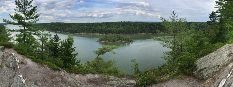 Panorama of trail view of Long Reach from cliffs.