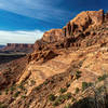 A rewarding sunset view along the canyon southwest of Upheaval Dome