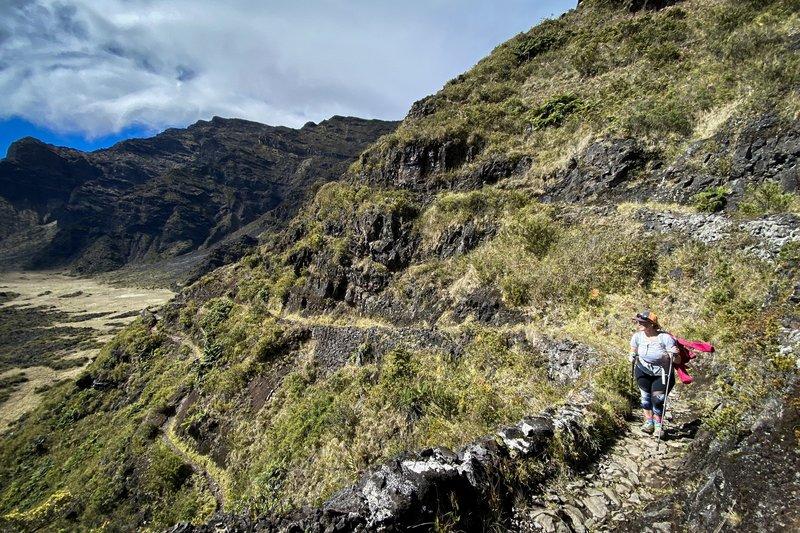Ashley makes her way upwards on the long climb.