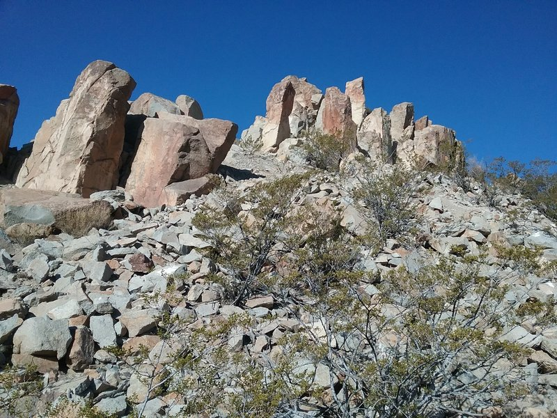 View of the rock formations on the top
