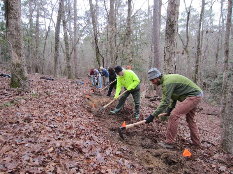 Midlands SORBA and volunteers benching section of the Cowasee Trail.