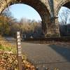 Enter on the multi-use paved path, which leads to Wissahickon trails.