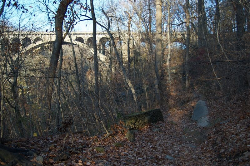 Old acqueduct and view of Walnut Ln from below on the Wissahickon trails.