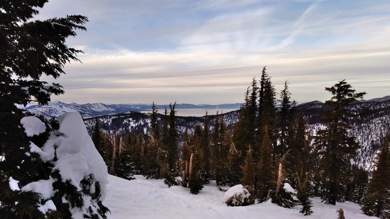 Looking at Lake Tahoe from the peak.