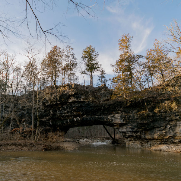 Clifty Creek Natural Bridge Spanning Little Clifty Creek as the Two Merge, Seen from the South Side