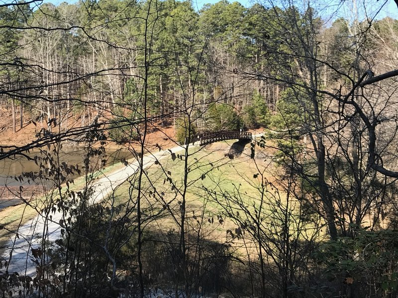 Reedy Creek Lake Dam and spillway as seen from the S. Turkey Creek MUT.