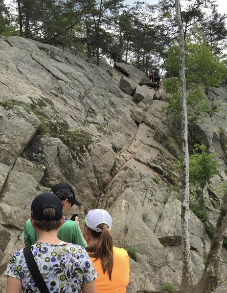 Notice that the trail goes diagonally up this rock face.