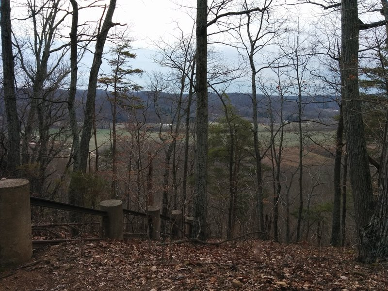 Looking out from end of Top of the Rock Trail over valley at Cubby House Hill.