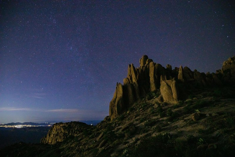 The saddle above Flatiron Trail, lit by the city, about 2:30AM. For me, the moment the camera earned its pack weight.