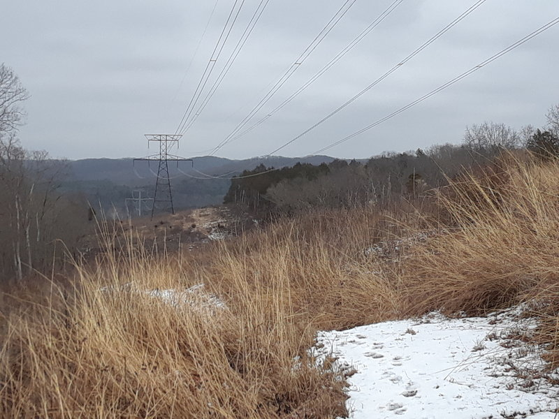 Trail crosses under a powerline