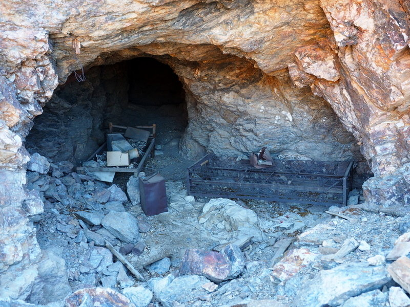 Old mine debris in a tunnel along the trail
