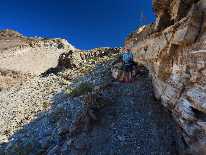 The old trail makes use of a natural ledge