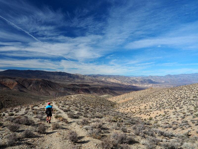 Descending the old Saddle Rock Mine road