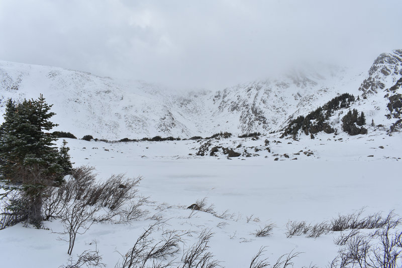 The middle lake in the winter. This is a tough one to snowshoe, and the route-finding is a bit more precarious in trying to steer clear of avalanche terrain.