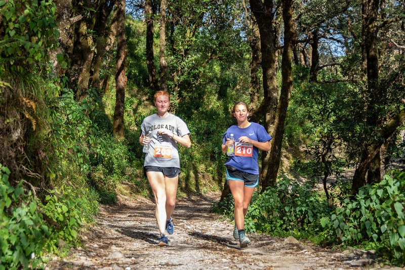 Runners on the unpaved section of the trail.