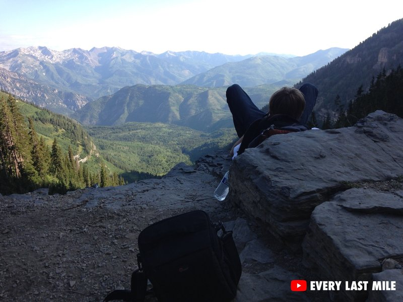 Resting on the way down from Timpanogos