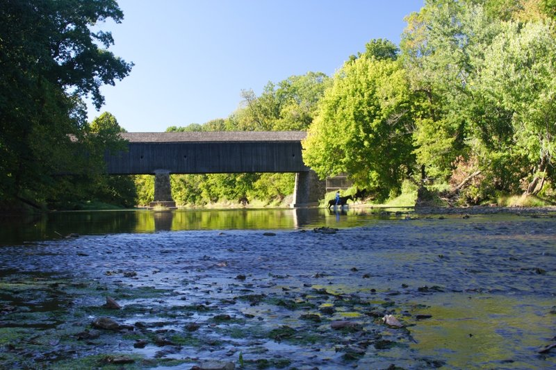 Horse Crossing at Schofield Ford Covered Bridge