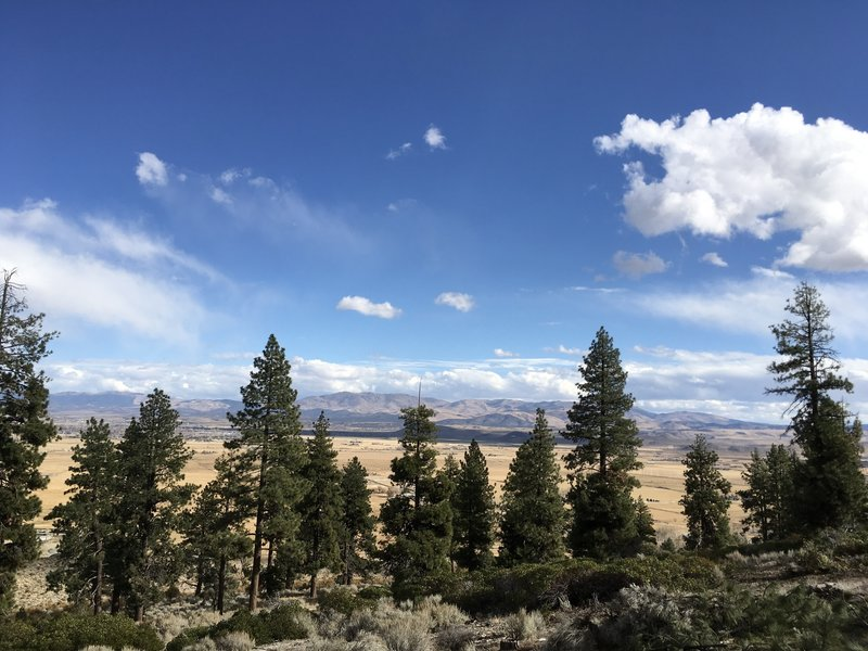 Jobs Peak Trail. About 1-2 miles in. The beauty if this trail is in the vistas of Carson Valley and views of the  Eastern Sierras.  Go on a day with cumulous clouds in the sky. The desert brush is gorgeous too.