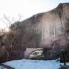 Inscriptions on a large rock near a buddhist temple in Seoraksan National Park
