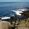 Looking over the rocky beach at Halibut Point.
