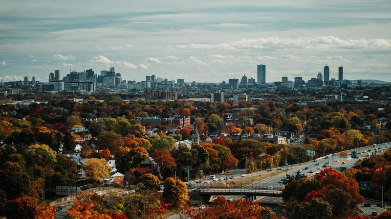 An autumn view of Boston from the Fells