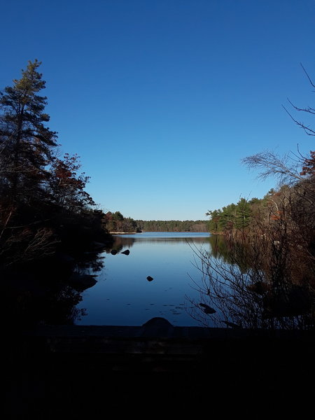 Water level view of the Yawgoog Pond from the southwest corner.