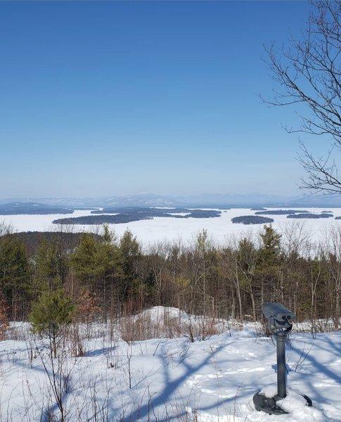 Beautiful winter view of Lake Winnipesaukee from summit.