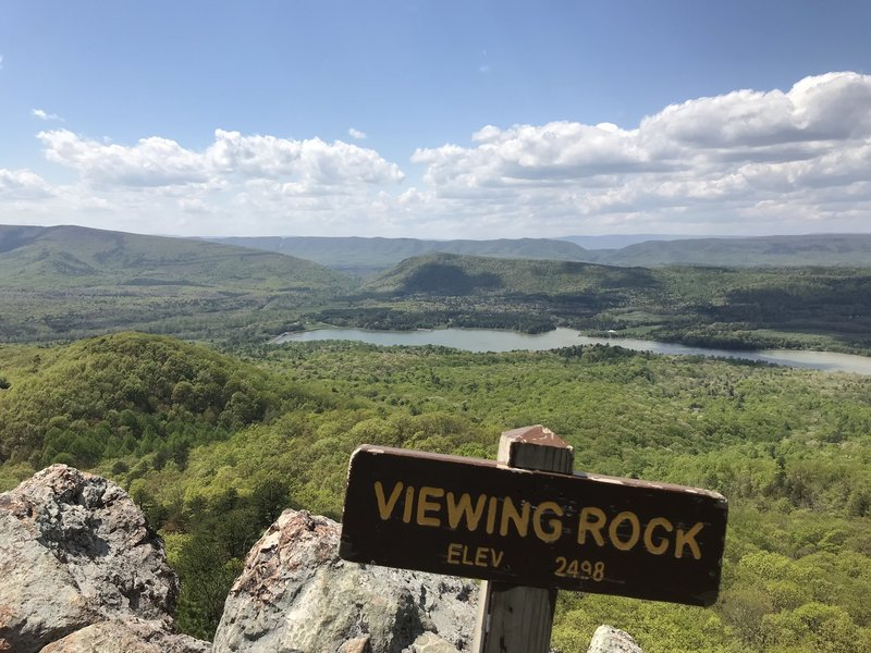Viewing Rock has views left towards West Virginia, including Lake Merriweather and the nearby Goshen Scout Reservation.