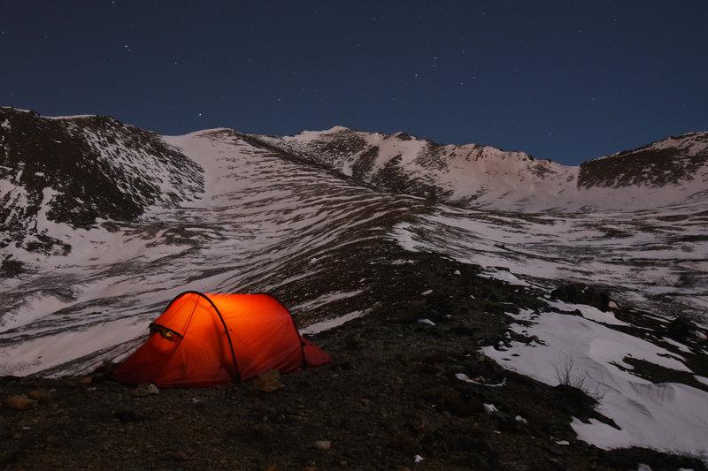 Camping on Wolverine Peak. Chugach State Park, Alaska