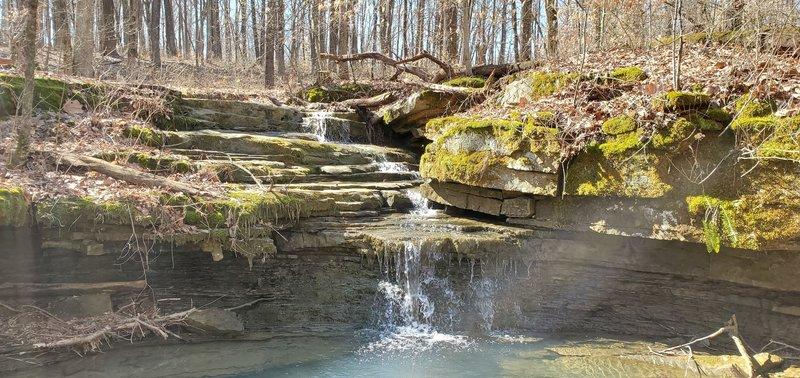 Water cascading down sandstone rocks