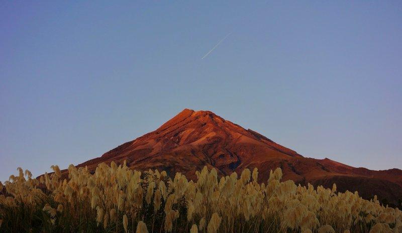 Dawn light on Mount Taranaki.