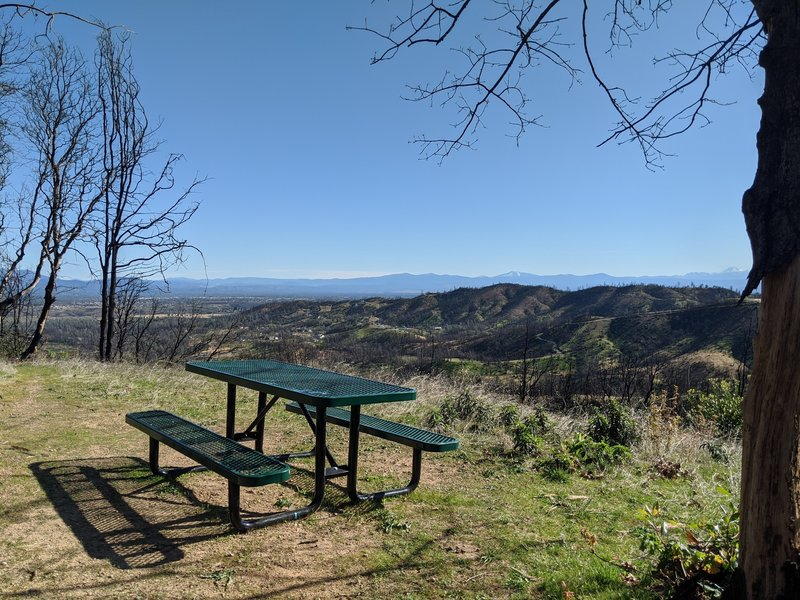 Picnic table on a spur trail.