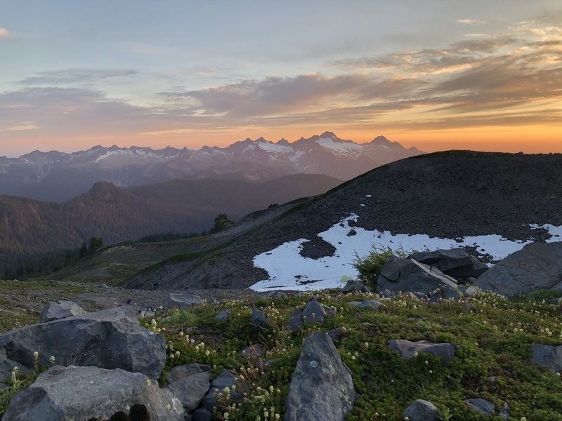 Sunset over the North Cascades from the foot of Mount Baker