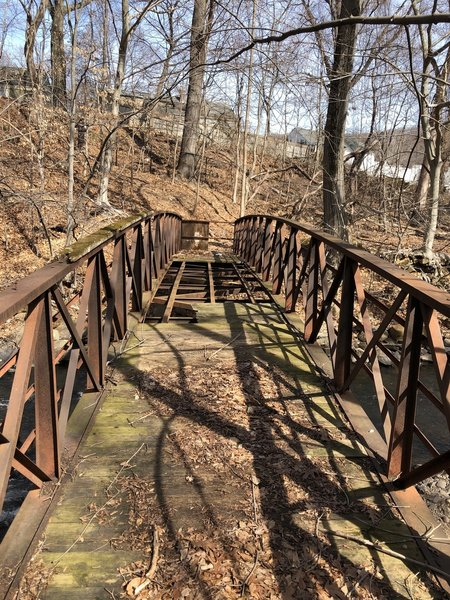 Footbridge at the south end of this trail forces a turn-around and return, making this an out and back hike and not a through hike
