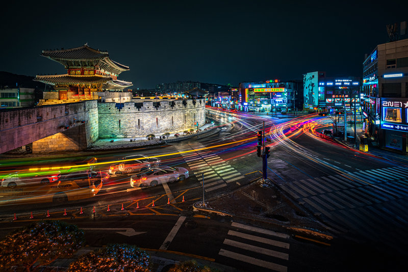 Busy intersection along the Hwaseong Fortress Trail