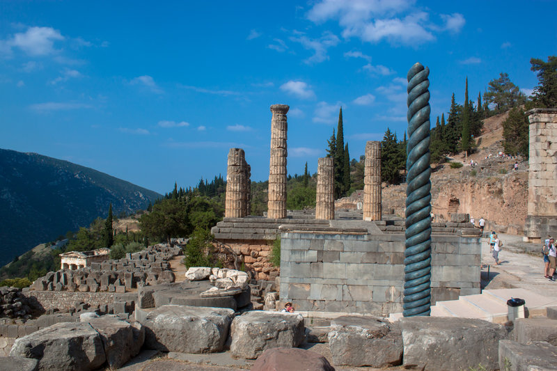 Delphi Tripod and Temple of Apollo, Delphi