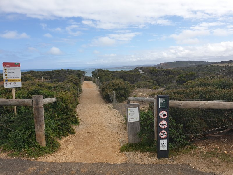 The start of the trail from the car park at Point Addis