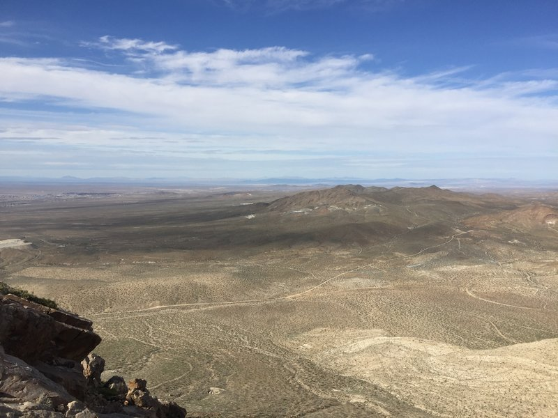 View from Quartzite Mountian with Helendale in the distance.