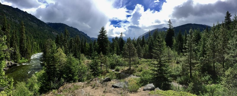 A panorama looking east along the Icicle Gorge Trail.