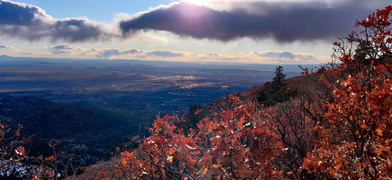 South Peak trail looking southwest toward ABQ Sunport and Kirtland AFB.